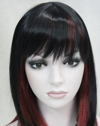 Wigs Mixed Black Burgundy Australia - LL HOT Free >> Hivision Black Burgundy Mixed Medium short Women ladies Daily Wig FTLD126