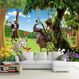 modern beds for kids Canada - custom size 3d photo wallpaper living room bed room kids mural cartoon animal forest tree 3d picture sofa TV backdrop wallpaper wall sticker