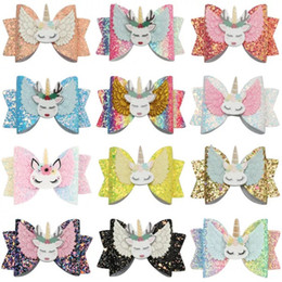 Headbands Bow Australia - Free DHL Newest About 3.5inch Kids Girls Hair Barrettes Fruits Unicorn Rainbow Sequins Bows Hair Clippers Mermaid Clips Hair Accessories