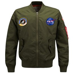Wholesale mens fitted military jackets resale online - Plus Size Bomber Jacket Flight Pilot Jackets Mens Casual Flying Coats Long Sleeve Slim Fit Clothes Military Air Force Embroidery HOT