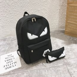 harajuku backpack fashion 2020 - Backpack fashion cartoon devil eye canvas backpack harajuku korean style backpack school bag laptop bag usb charger free