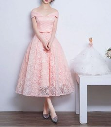 $enCountryForm.capitalKeyWord NZ - 9 Colors Women Midi Evening Dress Pink Lace Slash Neck Bow Ball Gown Off Shoulder Homecoming Party Dress Graduation Dress XXL Elegant