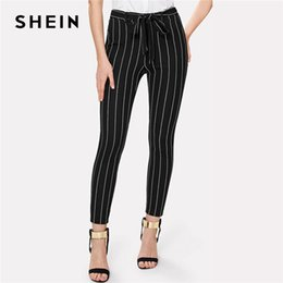 b83d28beee Vertical Striped Pants Australia - Shein Office Vertical Striped Skinny  Pants Women Elastic Waist Belted Bow