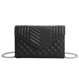 Black envelop online shopping - Plaid Embossed Lady Messenger Bags Elegant Envelop Clutch Purse Wallet Small Crossbody Chain Bag