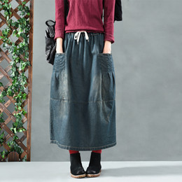 845203bff 2019 long Denim Skirt Vintage Drawstring High Waist Big Pockets Blue Loose Women  Skirts Plus Size Ladies Office Casual Jeans Faldas