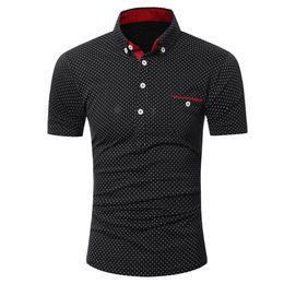 Dotted Shirts Australia - feitong Brand Mens Casual Short Sleeve Shirt Business Slim Shirt Summer Dot Print Blouse Men moda hombre Top camisas masculina
