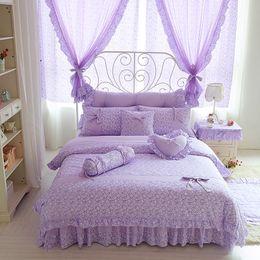$enCountryForm.capitalKeyWord Australia - Korean style purple floral bedding set 100% cotton twin queen king size girls bed princess cute linen duvet cover