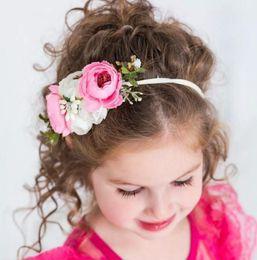 Wholesale 12 styles Baby Headband Artificial Flowers Nylon Headbands Baby Girl Hair Bows Beach Holiday Hair accessories