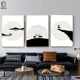 living room art picture abstract NZ - Japanese Wall Art Decor Canvas Printed Deer Landscape Wall Picture Posters and Prints for Living Room Home Decoration