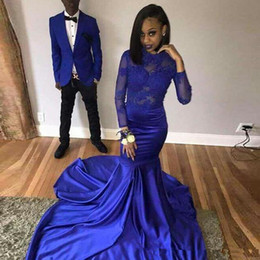 5aa9cdb8c8 African Royal Blue Mermaid Prom Dresses 2019 gala jurken Black Girls Women  Imported Party Dress Long Sleeves Formal Evening Gown