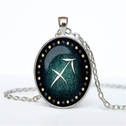 sagittarius necklaces Canada - 12 Constellations Zodiac Sagittarius Time Gem Glass Cabochon Pendant Necklace Silver Color Long Link Chain Choker For Women Men Jewelry Gift