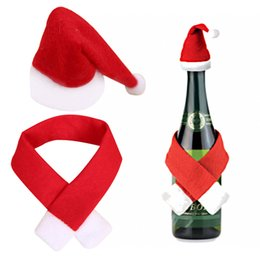 Christmas Tables Canada - 2018 New Christmas Wine Bottle Cover Hat Wrap Scarf Xmas Dinner Party Table Decor Christmas Decorations Gift Dropship