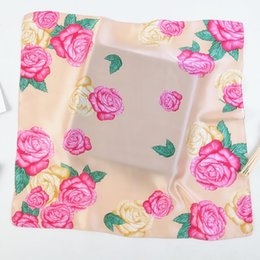 Wholesale lady peony online – The new horseshoe cm peony flower ladies small square silk twill scarves small scarf student Painting shawl