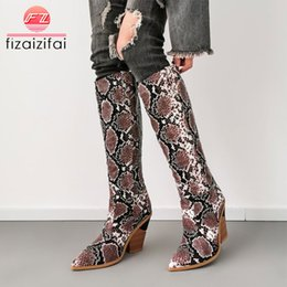 $enCountryForm.capitalKeyWord NZ - FizaiZifai Plus Size 33-46 Women Knee High Boots Snake Print Square Heeled Western Cowgirl Boots Winter Plush Warm Shoes Women
