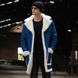 Wholesale mens wool coats resale online - Mens Winter Fleece Wool Long Warm Thick Coats Cotton Jackets Plush Warm Coats Velvet Male Fashion Trenchs