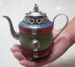 teapot one Canada - Tibet silver porcelain Chinese RARE green Tibet silver red jade teapot shipping pot tools wedding Decoration Brass