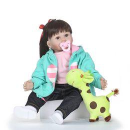 Giraffes Toys For Children Australia - Nicery 19 23-24inch 48 58-60cm Bebe Reborn Doll Soft Silicone Boy Girl Toy Reborn Baby Doll Gift for Children Green Giraffe