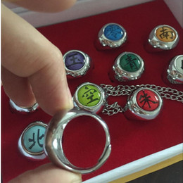 Wholesale free shipping naruto cosplay resale online - Action Japanese Anime Toys Naruto Cosplay Akatsuki Member Ring Uchiha Itachi10 Set for Christmas Gifts