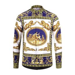 $enCountryForm.capitalKeyWord Australia - HOT 2019 Autumn winter Harajuku Medusa gold chain Dog Rose print shirts Fashion Retro floral sweater Men long sleeve tops shirtsM-XXL