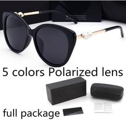 Fashion pearl Designer Sunglasses High Quality Brand Polarized lens Sun glasses Eyewear For Women eyeglasses metal frame 5 color 2039