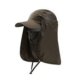 face covering hats Australia - Outdoor Breathable Hiking Camping UV Protection Face Neck Cover Fishing Cap Visor Hat Neck Face Flap Hat Wide Brim Buckle