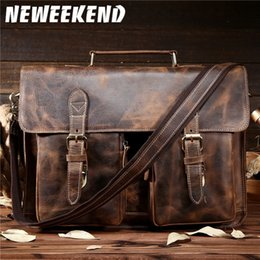 $enCountryForm.capitalKeyWord Australia - NEWEEKEND Retro Cowhide Leather Crazy Horse 14 15.6 Inch Crossbody Handbag Laptop Briefcase Bag for Male Man Men Portfolio 1061 #43052