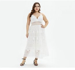 Dresses Apparel Australia - Womens Summer Lace V Neck Dresses Sexy Female Plus Size Clothing Asymmetrical Sashes Fashion Ankle Length Casual Apparel