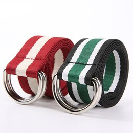 wholesale simple belt buckles NZ - 110cm-140cm Simple Striped Cotton Canvas All-match Waist Straps Women Canvas Belt D Shaped Double Ring Buckle Waistband Harajuku