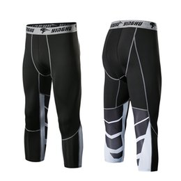 Discount compression short soccer - Men Running Pants GYM Fitness Compression Tights 3 4 Sports Pants Football Basketball Soccer Shorts Jogger Short Legging