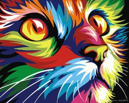 Color Diy Painting Australia - 16x20 inches DIY Paint on Canvas by Number Kits Abstract Art Acrylic Oil Painting for Adults Children Abstract Color Cat Design Frame