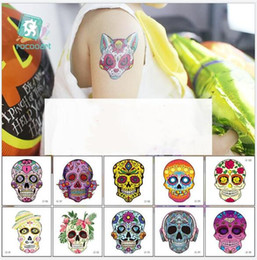 Discount face tattoos for halloween - Skull Tattoo Stickers Halloween Temporary Tattoos Waterproof Fake Taty For Kids Funny Skeleton Tatoo Hands Face 40 Desig