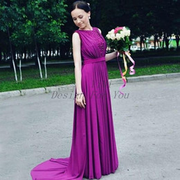 Purple Coral Beads Australia - Purple Bridesmaid Dresses 2019 Jewel Sweep Train Beads Draped Garden Country Arabic Wedding Guest Gowns Maid Of Honor Dress Plus Size