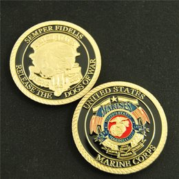 Wholesale Military Coins NZ - Dhl free shipping 100pcs lot United States Marine Corps Dogs Of War Military Challenge Coin SEMPER FIDELIS
