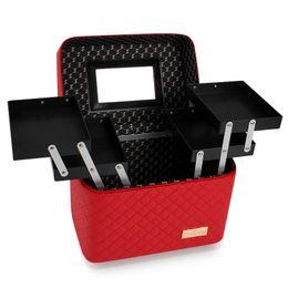 Trunk Storage Box Australia - Women Large Capacity Professional Cosmetics Trunk Toiletry Bag Multilayer Storage Box Portable Suitcase DHL Free Shipping