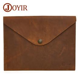 Ipad Genuine Leather Australia - Genuine Leather Document Bag A4 Ipad Solid Vintage Hasp Handbag Clutch Envelope For Men Man's New designer tote messenger Sale Free shipping
