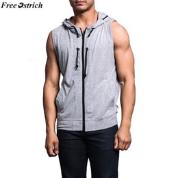 $enCountryForm.capitalKeyWord Australia - FREE OSTRICH Fashion men's sports plain hoodie fitness pullover sleeveless sweatshirt men's solid color hooded sleeveless vest #779729