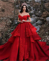 Wholesale 2019 Dubai Red Wedding Dresses A Line Tiered Skirts Off The Shoulder Ruffles Lace Applqiues Sweep Train Beach Vestido De Novia Wedding Dress