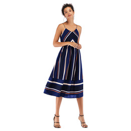 $enCountryForm.capitalKeyWord UK - 2019 Spring and Summer Dress Hot One Hair Women V Collar Striped Color Chiffon Sling In The Long Skirt