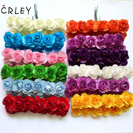miniatures flowers wholesale NZ - CRLEY 12pcs mini miniature rose flower artificial flower wedding decoration DIY wreath Scrapbooking Craft fake flowers C18112602