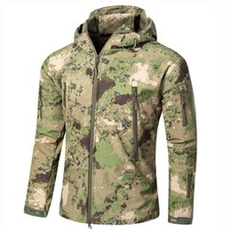 brown coats for men Australia - Army Tactical Sharkskin Softshell TAD Jacket Outdoor Camouflage Hunting Clothes For Hiking Camping Windproof Hoody Coats S-XXXL