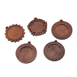 $enCountryForm.capitalKeyWord Australia - 10pcs lot 25mm Wood Necklace Pendant Setting Cabochon Base Setting Dark Coffee Color Charms Pendant For DIY Jewelry Making
