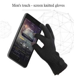 Hiver Hommes Gants en tricot écran tactile de haute qualité Homme Mitten Épaissir chaud en laine et cachemire solides Gants Hommes d'Affaires Automne en Solde