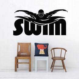 $enCountryForm.capitalKeyWord Australia - Swim Player Wall Decal Athletic Sports Vinyl Wall Sticker Gym Swimming Wall Art Mural Swim Words Decal Water Sport Poster