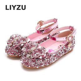 glitter shoes for girls Australia - Princess Kids Shoes For Girls Casual Glitter Diamond Bow PU Children Shoes Party Dress In School Performance Silver Purple