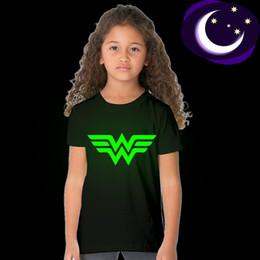 $enCountryForm.capitalKeyWord Australia - Luminous Wonder Letter Kid Girl T Shirt Glow In Dark Cartoon Print Baby Cloth Child Tee Short Sleeve O-Neck T-shirt Fluorescent