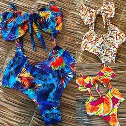 $enCountryForm.capitalKeyWord Canada - Knotted Bikini 2019 Summer Women Two Pieces Bikini Set Solid High Quality Print Padded Push Up Knotted Swimwear Swimsuit J190317