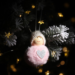 doll knitting NZ - Knitted Pom Pom Plush Doll Christmas Pendant Drop Ornaments Xmas Holiday Tree Decoration Christmas Tree Hanging Ornament