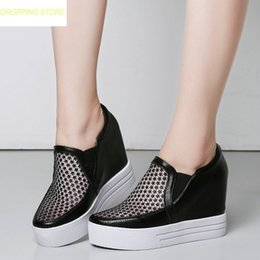 501983f497 Women Genuine Leather Wedge High Heel Summer Boots Casual Platform Sandals  Party Pumps Round Toe Sneakers Creepers