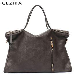 Tote Large Australia - Cezira Designer Brand Large Women Tote Shoulder Bag Fashion Rivets Handbag Female Zipper Pu Leather Messenger Bag Vintage Purse Y19062003