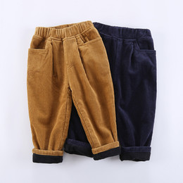blue trousers for girls 2019 - hot fashion Thichen Winter Warm Baby Pants For Boys Girls Corduroy Kids Trousers Loose Plus Velvet Children Outwear Pant